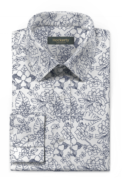 Chemise blanche boutons de manchette à motif floral 100% coton