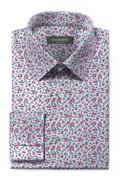 Pink french cuff floral 100% cotton Shirt