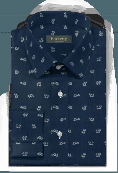 синяя хлопковая рубашка с запонками с микрорисунком
