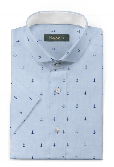 Chemise bleue manches courtes micropattern 100% coton