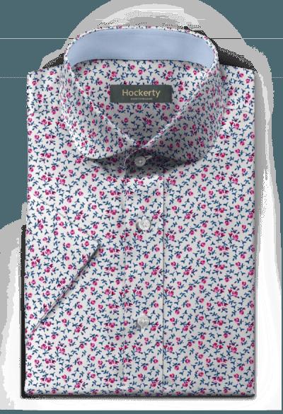 розовая хлопковая рубашка с коротким рукавом с цветочным рисунком