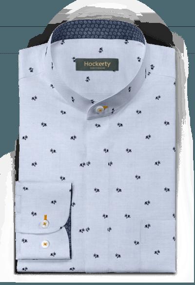 синяя хлопковая рубашка с микрорисунком
