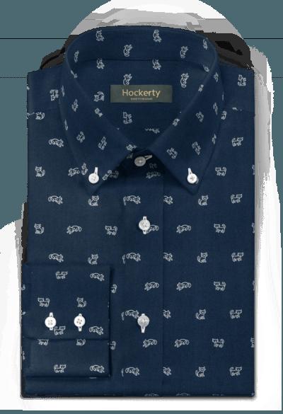 Blaues kleinmuster Hemd aus Baumwolle