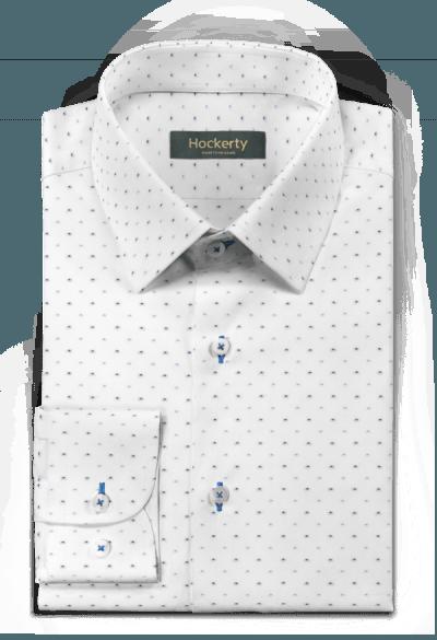 белая хлопковая рубашка в крапинку