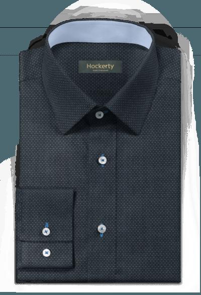 Camicia blu a pois 100% cotone