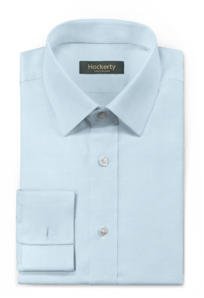 Chemise bleue boutons de manchette à carreaux 100% coton