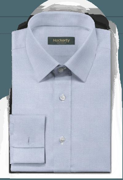Chemise bleue boutons de manchette micropattern 100% coton