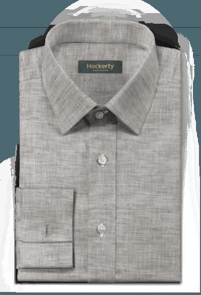 Graues Hemd mit Umschlag & aus Leinen