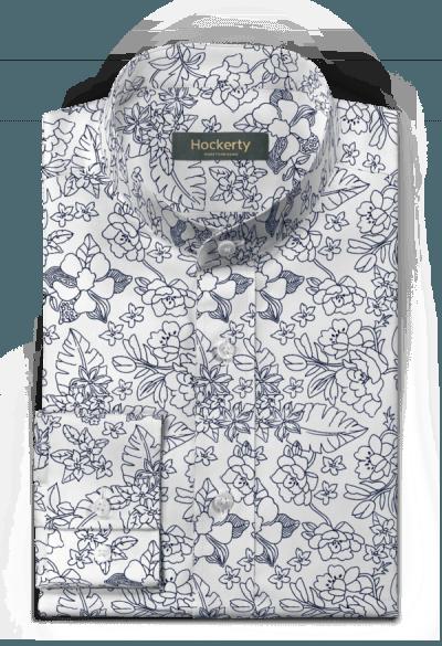 Chemise blanche à motif floral 100% coton
