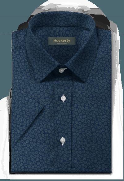 Blue short sleeved floral 100% cotton Shirt