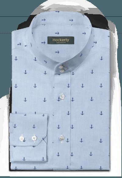 Camicia blu micropattern 100% cotone