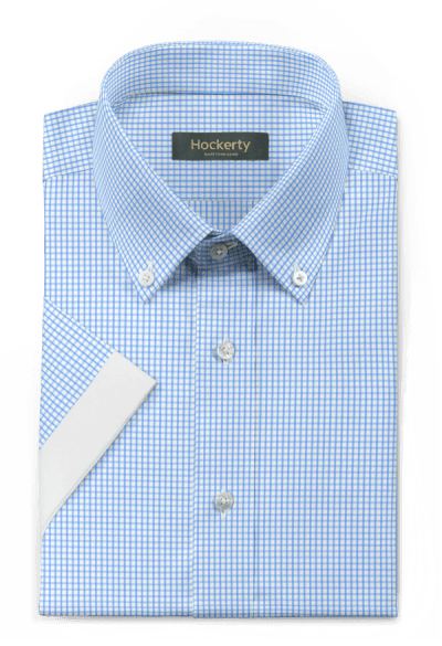Blue short sleeved checked 100% cotton Shirt