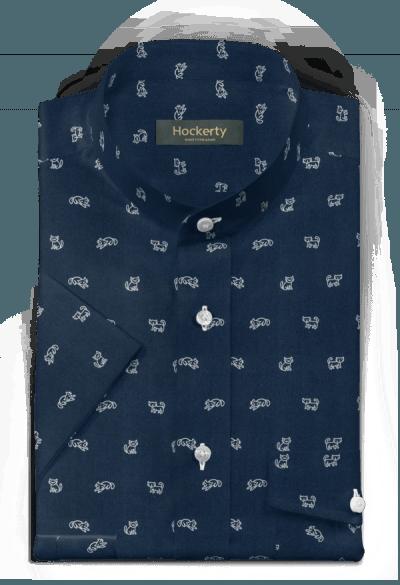 Chemise bleue manches courtes micropattern 100% coton