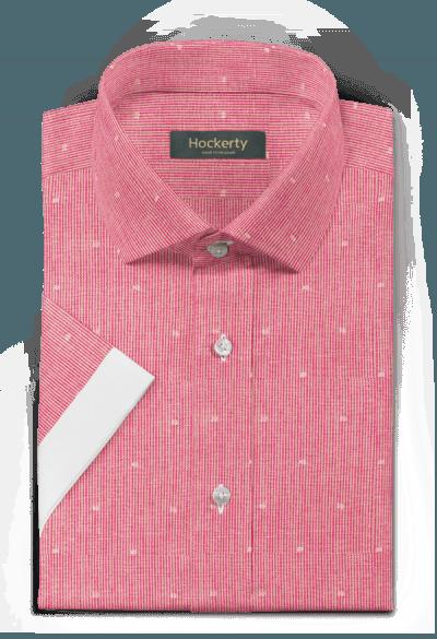 Camicia a maniche corte rosa gessata di lino