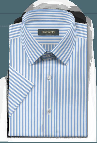 Camicia a maniche corte blu gessata 100% cotone