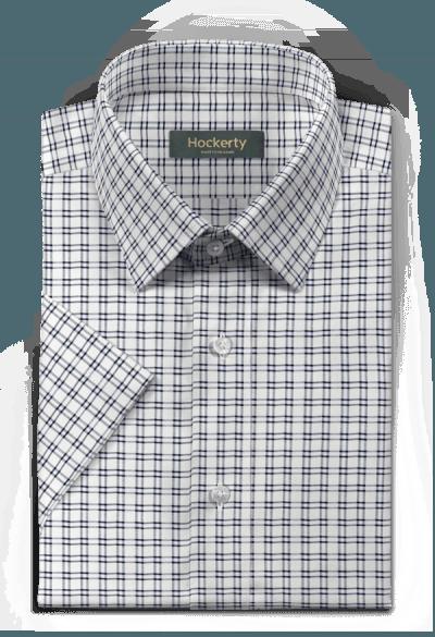 Chemise blanche manches courtes à carreaux 100% coton