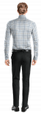 Camicia blu a quadri 100% cotone-Vista Posteriore