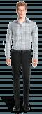 Camicia blu a quadri 100% cotone-Vista Frontale
