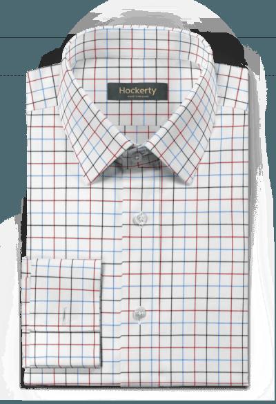 Weißes kariertes Hemd mit Umschlag & aus Baumwolle