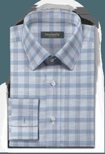 Blaues kariertes Hemd mit Umschlag & aus Baumwolle