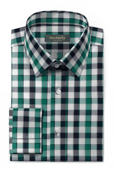 Chemise verte boutons de manchette denim à carreaux 100% coton