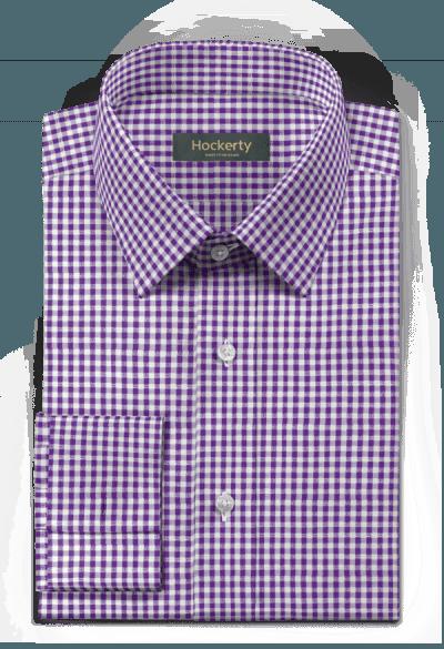 Camicia gemelli viola a quadri 100% cotone
