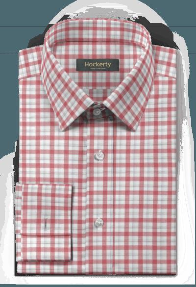 Rotes kariertes Hemd mit Umschlag & aus Baumwolle