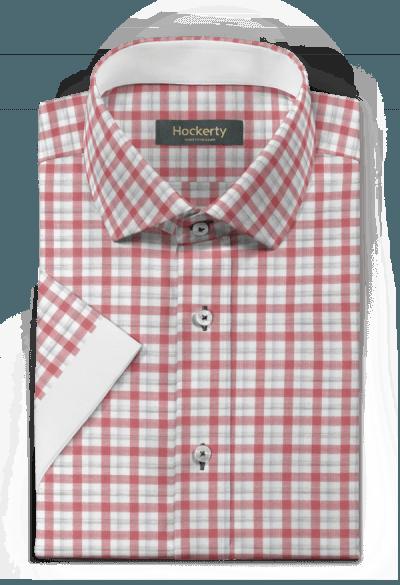 Camicia a maniche corte rossa a quadri 100% cotone