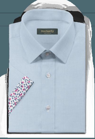 Chemise bleue manches courtes à chevron 100% coton