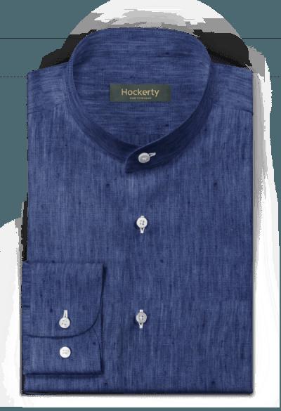 синяя льняная рубашка