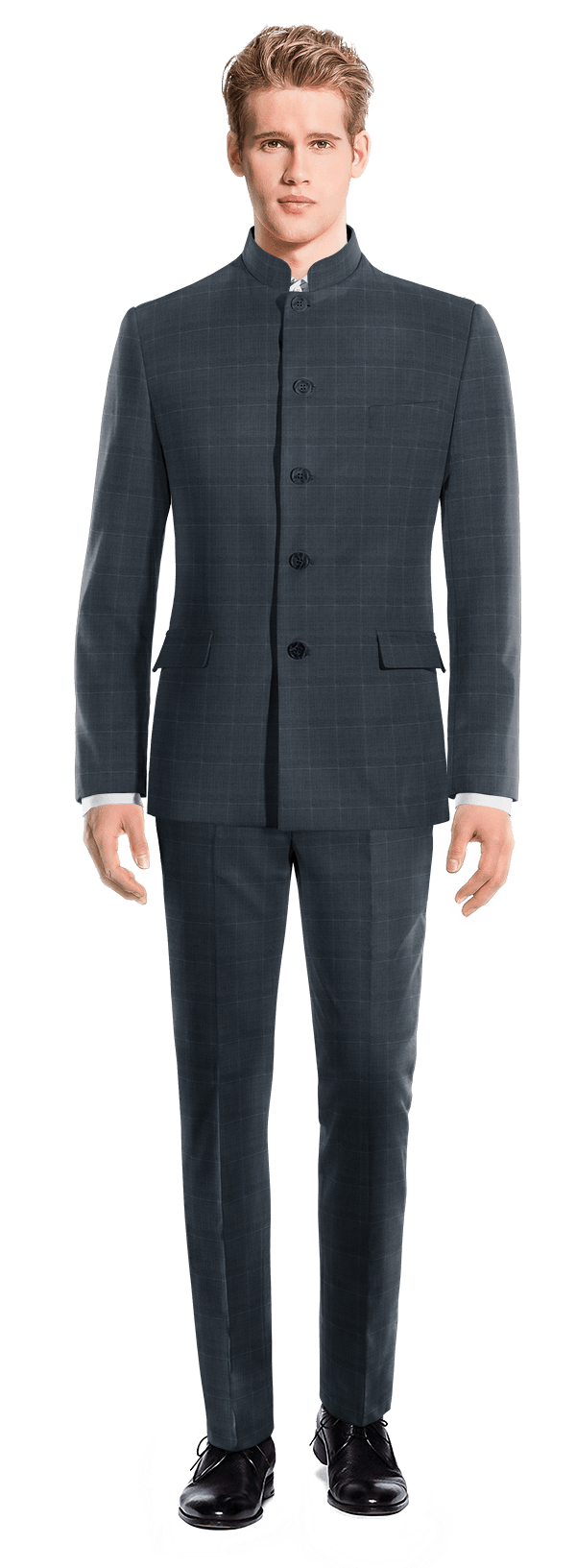 Blue Mao checked Merino wool Suit
