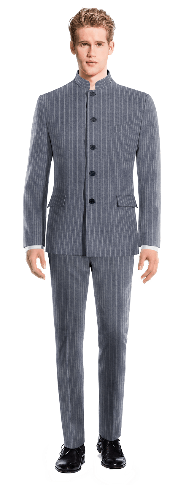 Blue Mao striped linen Suit