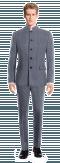 Blue Mao striped linen Suit-View Front