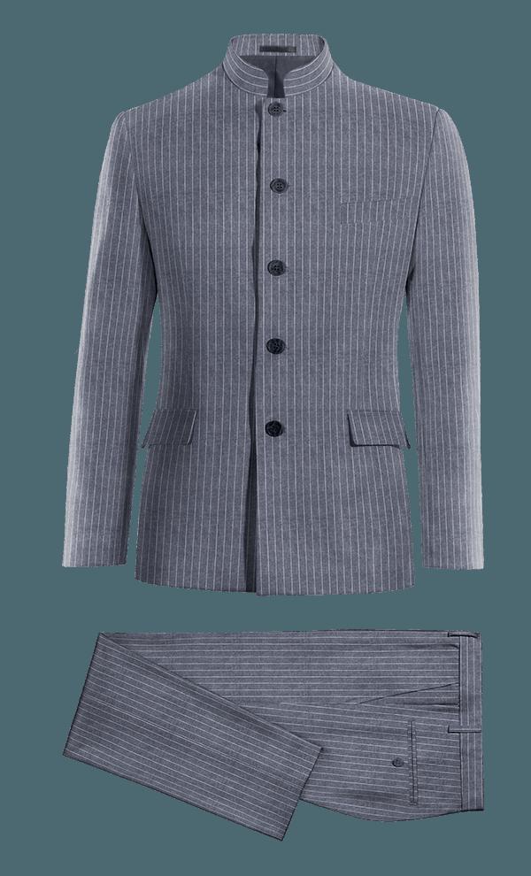 Blue Mao striped linen Suit