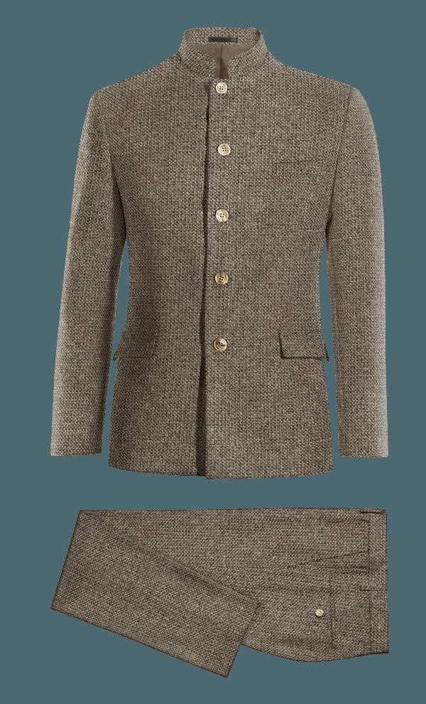 Costume marron Mao en tweed