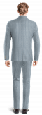 Costume bleu Mao à rayures en Lin-Vue Dos