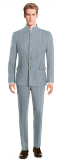 Blue Mao striped linen Suit-View Front