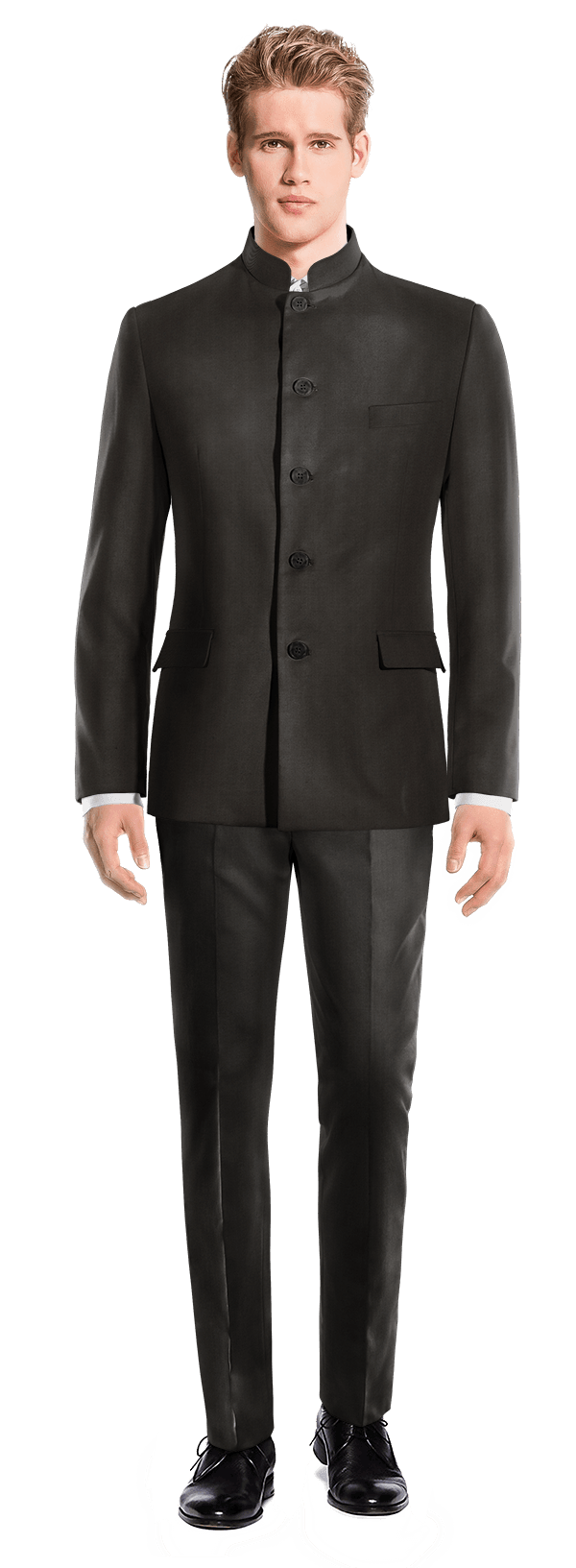 Black Mao polyester Suit