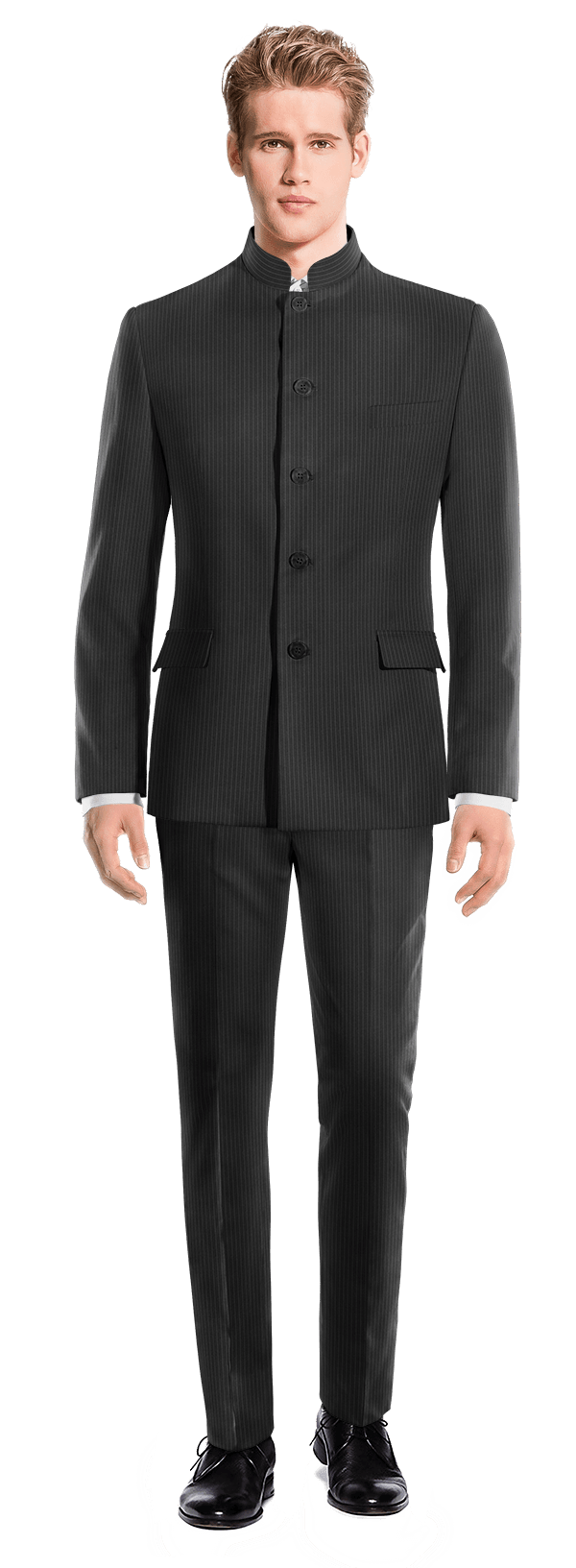 Black Mao striped 100% Wool Suit