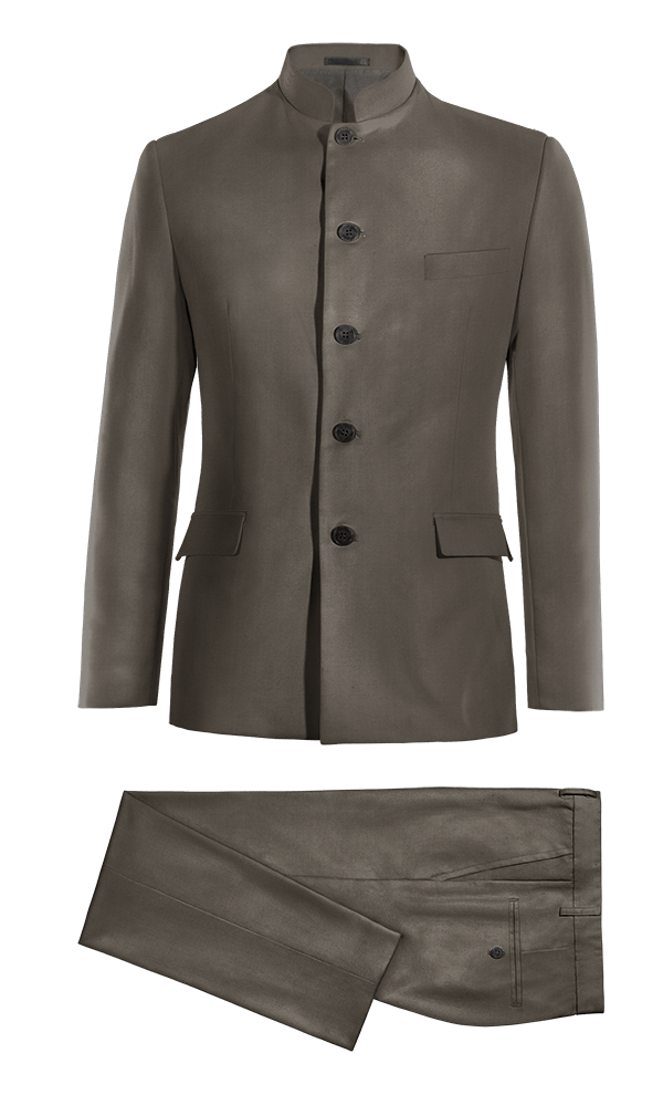 Brown Mao polyester Suit