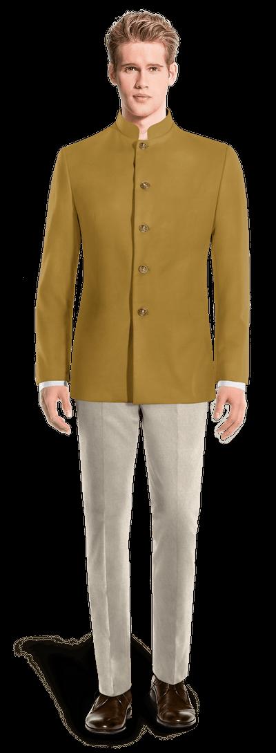 Gelber Baumwolle chinesischer Kragen Zweiteiler Anzug mit Kupfer Knöpfen
