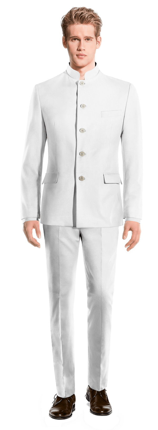White Mao linen Suit