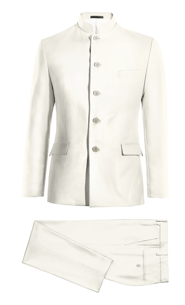Costume blanc Mao en Polyester