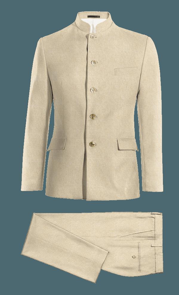 Beige Mao linen Suit