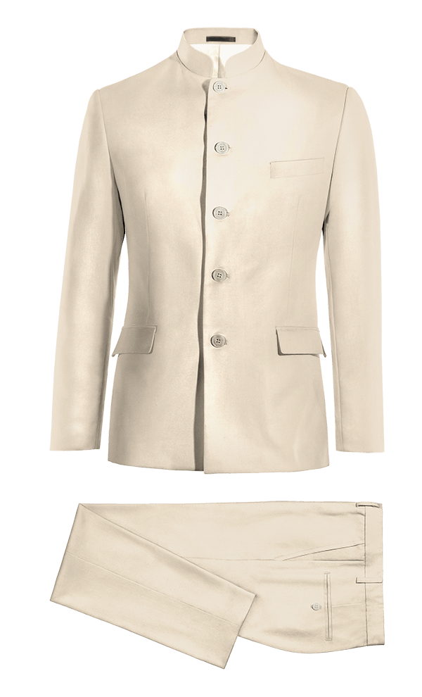 Beige Mao polyester Suit