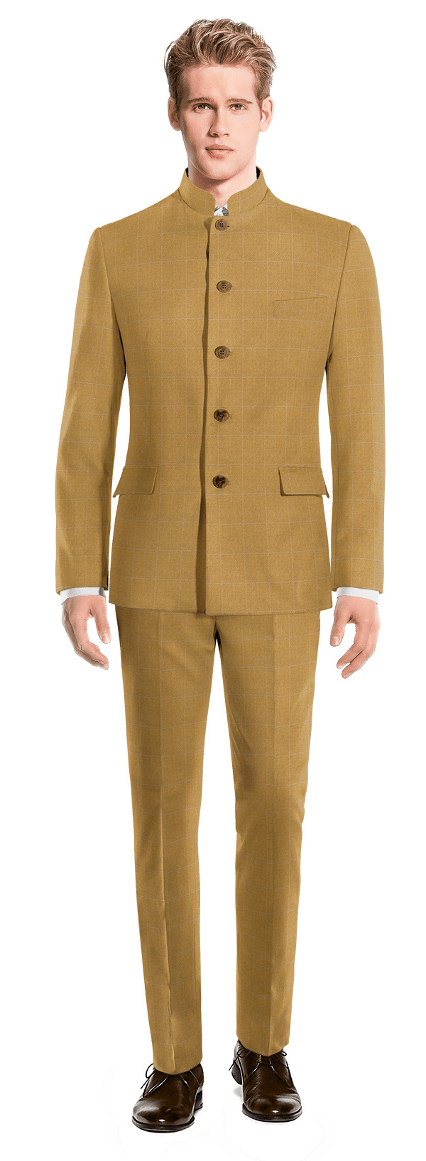 Brown Mao checked 100% Wool Suit