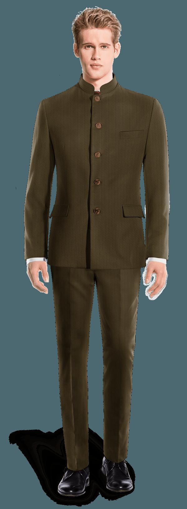 Costume marron Mao en Velours côtelé
