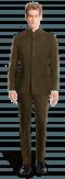 Costume marron Mao en Velours côtelé-Vue Avant