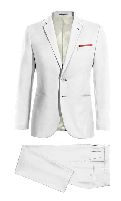 Weißer Wolle Mischung Zweiteiler Anzug mit Einstecktuch