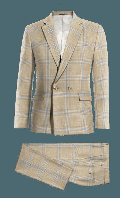 online store 7fb21 636fa Beige Prince of Wales Leinen Zweireiher Zweiteiler Anzug